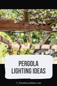 From patio string light ideas to outdoor chandeliers, find all kinds of pergola light ideas to make your deck or patio look gorgeous at night Pergola Canopy, Outdoor Pergola, Pergola Lighting, Pergola Plans, Landscape Lighting, Outdoor Lighting, Lighting Ideas, Deck Patio, Gazebo