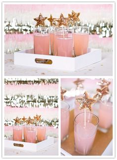 Party drink... stirrers with a sequined star seem perfect for a Princess or a Fairy party!