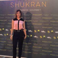 Eva Isanta con camisa LeSmoking en la inauguracion de la fantastica terraza de Shukran