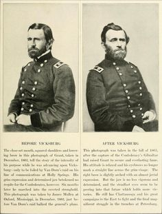 """[General Ulysses S. Grant photographed Before and After the Battle of Vicksburg] via  Miller, Francis Trevelyan and Robert S. Lanier, """"..."""