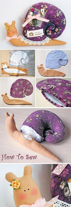 Textile cute decorative Snail in Tilda Style Tutorial http://www.handmadiya.com/2017/04/textile-snail-in-tilda-style.html