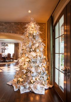 beautiful living rooms decorated for christmas | Beautiful Christmas Tree With French Door, Arched Doorway, Hardwood ...