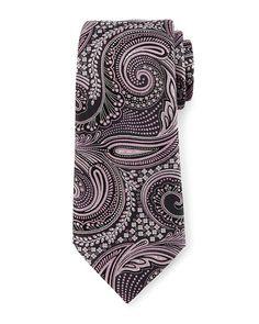 ERMENEGILDO ZEGNA Floral Paisley Silk Tie, Gray/Pink. #ermenegildozegna #