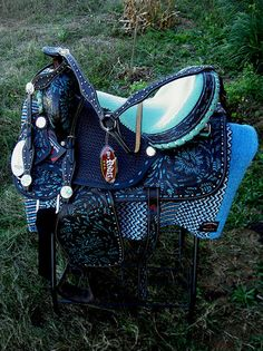 "15"" Western Barrel Show Pleasure All Leather Horse Saddle Bridle Turquoise 5359 
