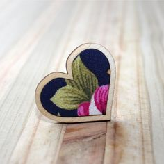 Kosbaar | Heart Ring | Timber & fabric inlay | Navy background with large pink floral pattern | Handmade in Cape Town, South Africa Vintage Crockery, Navy Background, Porcelain Jewelry, Upcycled Vintage, Cape Town, South Africa, Heart Ring, Coin Purse, Handmade Jewelry