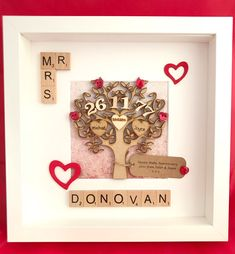 Custom To Any Anniversary. Engraved Names. Ruby Anniversary, Anniversary Cards, Wedding Anniversary, Ruby Wedding, Gift Wedding, Grandparent Gifts, Box Frames, Scrabble, Things To Know