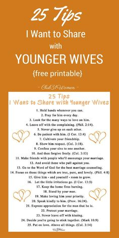 FREE Printable: 25 Tips I Want to Share with Younger Wives - Club 31 Women
