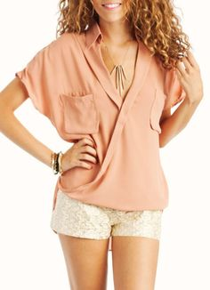 draped button-up blouse