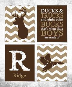 Hunting Print Set - Deer Print - Duck Print - Set of Four 8x10 Prints - Nursery Art - Baby Wall Art - Boy Room - Hunting Nursery - Chevron