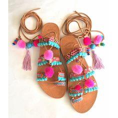 Tie Up Pom Pom Sandals Lollipop Leather sandals, Lace Up Sandals, Boho... ($140) ❤ liked on Polyvore featuring shoes, sandals, greek sandals, pink sandals, lace up sandals, roman sandals and tassel sandals