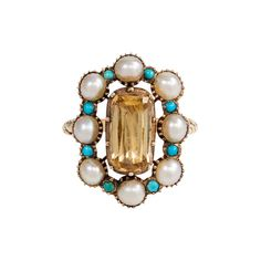 Antique Pearl Turquoise Gold Cluster Ring with Topaz Center For Sale Pearl Jewelry, Fine Jewelry, Jewelry Necklaces, Jewellery, Antique Rings For Sale, Antique Jewelry, Baroque, Jewel Hands, Big Earrings