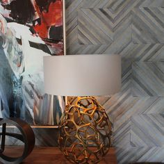 Kelly Hohla used Kyle Bunting's patterned hide piece to upholster the accent wall