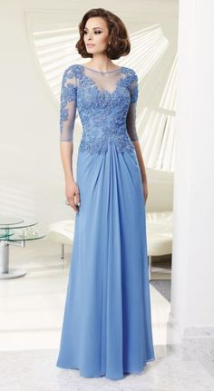 This is a light blue Chiffon Mother of the bride evening dress with long lace…