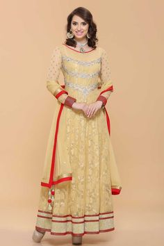 Andaaz Fashion Persented By Beige flower net Anarkali suit lined with sequence with price $139.08. Neckline with zircon & crystal work. Sleeves with zircon work. Net dupatta & shantoon churidar.  http://www.andaazfashion.us/beige-net-anarkali-churidar-suit-1632.html