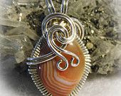 Lake Superior Agate Gem Stone Wire Wrapped Pendant