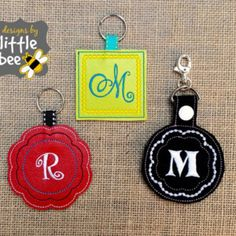decorative blank key fob AND snap tab super bonus happy value set! ribbon keychain embroidery design hoop Instant Download bean stitch