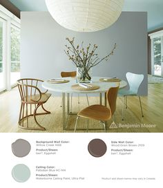 Soft hues. #BenjaminMoore Willow Creek 1468 with ben, eggshell finish (background wall); Palladian Blue HC-144 with Waterborne Ceiling Paint, ultra-flat finish (ceiling); and, Wood Grain Brown 2109 with ben, eggshell finish (side wall).