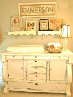 Antique Changing Table in Vintage Nursery - #nurserydesign