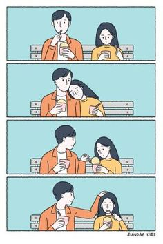 The illustrator of Bangkok, Pratchaya Mahapauraya for years draws comics funny about those small but important signs of love that make a relationship pure magic. Cute Couple Comics, Cute Couple Cartoon, Couples Comics, Cute Couple Drawings, Cute Couple Art, Cute Love Cartoons, Cute Comics, Funny Comics, Cute Cartoon