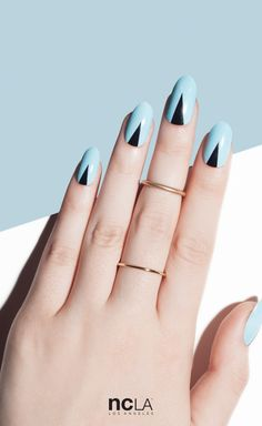 She's Always On Point nail wraps. Easy nail art via minimal pastel blue and black graphic detail. | NCLA 2016