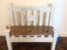 Melissa and Dereck made a bench from an old bed for guests to sign!  Love this idea!! Who cant use a bench!?