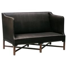 Sofa in Original Black Horsehair with Leather Welts by Kaare Klint | See more antique and modern Sofas at https://www.1stdibs.com/furniture/seating/sofas
