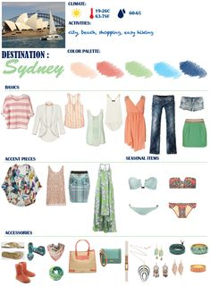packing for spring/summer in australia - accessories aren't really in my taste but I like the general idea.