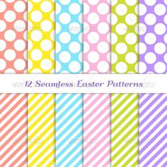 "Easter Jumbo Polka Dot and Stripes Patterns #GraphicRiver Twelve modern seamless jumbo polka dot and stripes patterns in 6 pastel Easter colors: coral / orange, yellow, pink, blue, grass green and purple / violet. Nice backgrounds for any Spring Themed / Easter / Mother's Day project! Vector file contains Pattern Swatches made with Global Colors which makes it super easy to change colors to all patterns in just one click. This set contains: EPS 10 AI CS5.5 12 JPGs (3600×3600px = 12""x12"" at…"