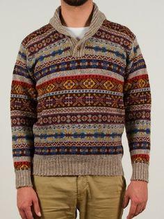 Howlin' by Morrison - Shawl collar fairisle sweater