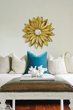 sunburst mirror, neutrals with turquoise pillow pop Turquoise Cushions, Interior Inspiration, Design Inspiration, French Mirror, Sunburst Mirror, Family Room Decorating, Interior Photography, Love Home, My Room