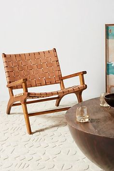 Leather panels woven within a natural teak frame create an inviting place to sit and lend a casual sophistication to any space. Steel Furniture, Ikea Furniture, Living Room Furniture, Furniture Stores, Furniture Dolly, Furniture Movers, Leather Furniture, Furniture Outlet, Discount Furniture