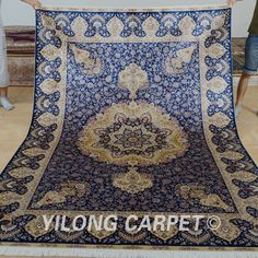 Yilong 6'x9' Persian Silk Rugs Hand Knotted Carpets Blue Tabriz Handmade 0261