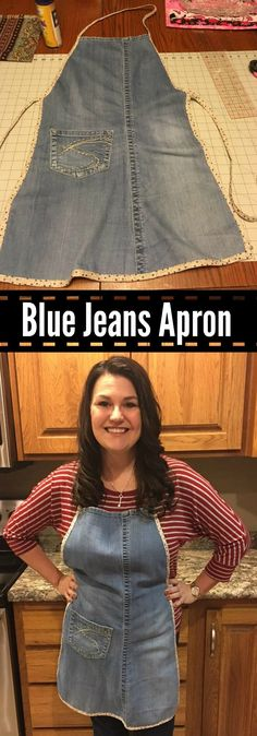 My made me an apron out of my old favorite blue jeans! Here's instructions how she made my new favorite denim apron.
