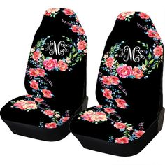 Classy Black Floral Car Seat Covers Set Of Two by ChicMonogram