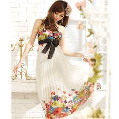 $16.18    Patrón del Bowknot Vestido largo plisado floral elegante de las mujeres
