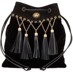 Miu Miu Velvet Tassel Chain Hobo Bag ($1,360) ❤ liked on Polyvore featuring bags, handbags, shoulder bags, black, handbags hobo bags, handbag purse, drawstring purse, purse shoulder bag, chain purse and man bag