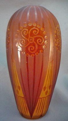 Art Nouveau French Glass Cameo Vase By D'Argental