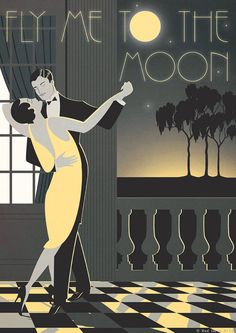Original Design A3 A2 A1 Art Deco Bauhaus Poster Print Frank Sinatra Fly Me To The Moon Vintage Dance Tango Couple Vogue 1940's 1930's