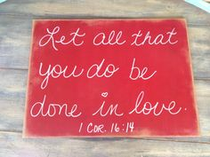 Rustic Red and White Scripture Wedding Sign by SassySouthernCharm