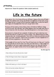 English worksheet: Reading: Life in the future