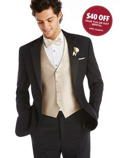 I'm a prom rep; check out this cool prom tux rental from Men's Wearhouse. Black Tuxedo Wedding, Prom Tuxedo, Men's Tuxedo, Prom Suit Looks, Prom Suit Guys, Prom Vest, Gold Vests, Vest And Bow Tie, Prom Outfits
