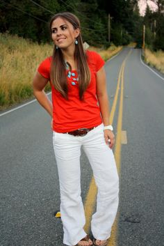 white pants, red shirt, turquoise jewelry, brown belt