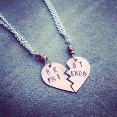 best friends Necklace Set on Etsy, $39.00 Necklace Set, Dog Tag Necklace, Beautifully Broken, Best Friend Necklaces, Best Friends Forever, Frosting, Bff, Friendship, Jewelry Accessories