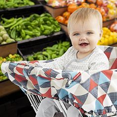 Skip Hop Shopping Cart and Baby High Chair Cover, Take Cover, Triangles Baby Trolley, Shopping Cart Cover, Shopping Carts, Leather Chair With Ottoman, Highchair Cover, Amazon Baby, Thing 1, Nursing Pillow, Baby Must Haves