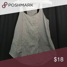 Hollister Fashion Top Grey Fashion Hollister Tank Top with Floral Lace Pattern on Front of Shirt Hollister Tops Tank Tops