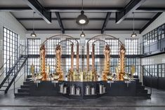 Like the gin its known for, the design of the Monkey 47 Distillery in Germany channels the spirit of the surrounding Black Forest. Gin Distillery Tour, Distilling Equipment, Beer Factory, Brewery Design, Steel Windows, Top Interior Designers, World's Most Beautiful, Black Forest, Steel Frame