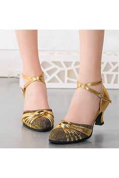 Women's Gold Leatherette Sparkling Glitter Heels Latin With Buckle Dance Shoes D801027