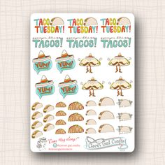 Decorative Planner Stickers | Taco Tuesday | 38 Stickers Total | #SD10 by CleverGalCrafts on Etsy https://www.etsy.com/listing/251682103/decorative-planner-stickers-taco-tuesday