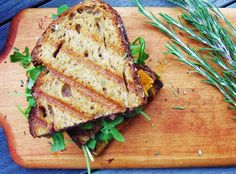 grilled sharp cheddar cheese panini with cranberry mustard and arugula
