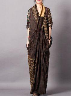 85a12d618fd34 Chic Plaid Splicing V-neck Loose Maxi Dress